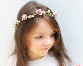 Mauve Bridal Floral Crown, Flower Hair Crown, headpiece, mauve Hair Accessories, bridesmaids, flower girl, photo prop, floral tiara