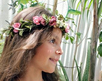 Mauve Blush Garden Rose Floral Crown, Weddings, Flower Crown,  Boho, Spring, Bohemian, Bridesmaids, wedding headband, Flower Girl, Bridal
