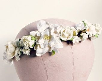 Creamy White Floral Crown, Woodland, white flower crown, Bohemian, boho floral crown,  bridal headpiece, autumn, fall wedding, ivory,