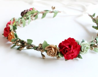 Floral Crown, Festival Crown, Boho crown, Bridal fall headpiece, flower girl crown, wedding hair piece, red Floral crown