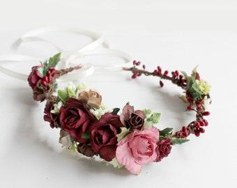 Burgundy Flower Crown, Burgundy Pink Floral Crown, Autumn Hair Crown, Burgundy Wedding, fall flower crown, burgundy headpiece, Fall Crown