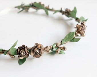 Gold Flower Crown, Bohemian headpiece, gold headpiece, gold floral crown, Bridal Headpiece, spring wedding, gold wreath