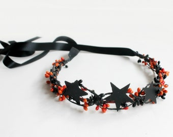 Black Stars Crown, Halloween Crown, Black Flower Crown, fall star wedding, black star costumes, Halloween Wedding, gothic  Star Twig Crown