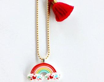 Rainbow Necklace, Kids jewelry, Girls Jewelry, Party Favors, Gift, Rainbow jewelry, Summer, Kids, Rainbow Necklace, Kids Accessories