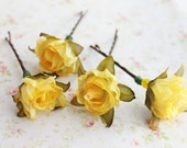 Yellow Roses Hair Pins, Woodland wedding hair pins, bridal hair accessories, yellow flower hair clip, flower bobby pins, bridesmaid hair pin