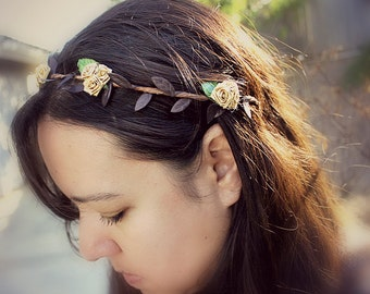 Gold Rose Bohemian Halo. Floral Crown, Flower Hair Crown. Woodland, Wedding, fall, autumn, Boho, Bridal, Hair Accessories, woodland