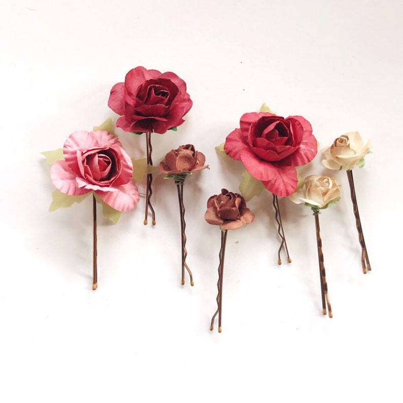 Fall Flower Hair Pins Burgundy red Hair Clips Bridesmaid image 0