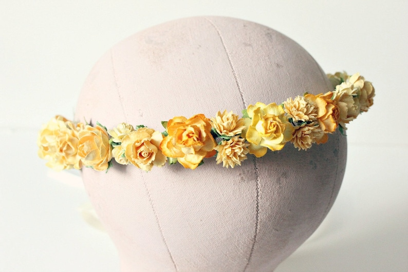 Yellow Flower Crown rustic wedding Bohemian bridesmaids image 0