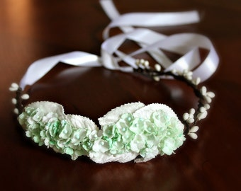Mint Green Bridal Floral Headband, Mint Green Flower Crown. Woodland, bridesmaids, Weddings, mint wedding, Bridal Hair Crown