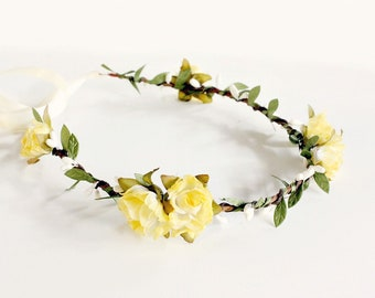 Yellow Floral Crown, Yellow flower crown, Woodland, yellow wedding, boho, Bridal, Hair Accessories, summer, Flower Girl, Bridal Party