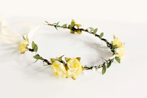 Yellow Floral Crown Yellow flower crown Woodland yellow  c33e163b955