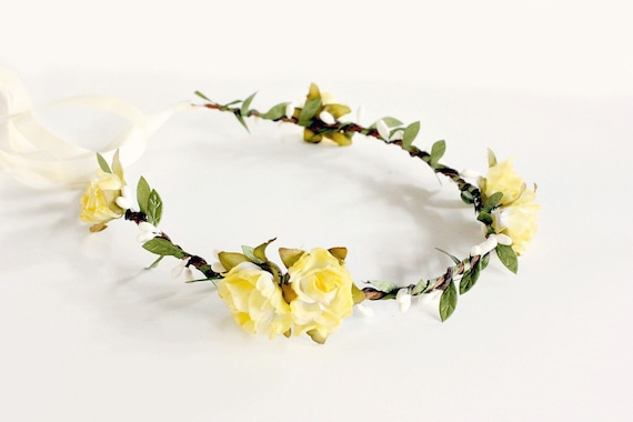 Yellow Floral Crown Yellow flower crown Woodland yellow  52c6e73d663