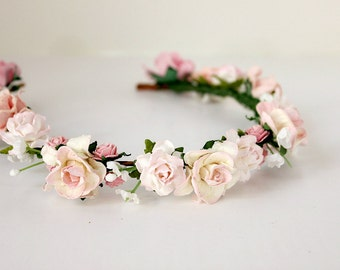 Pink and Ivory Flower Crown, Floral Headband, Woodland, spring, summer, wedding flower crown, Boho, Bridal, Hair Accessories