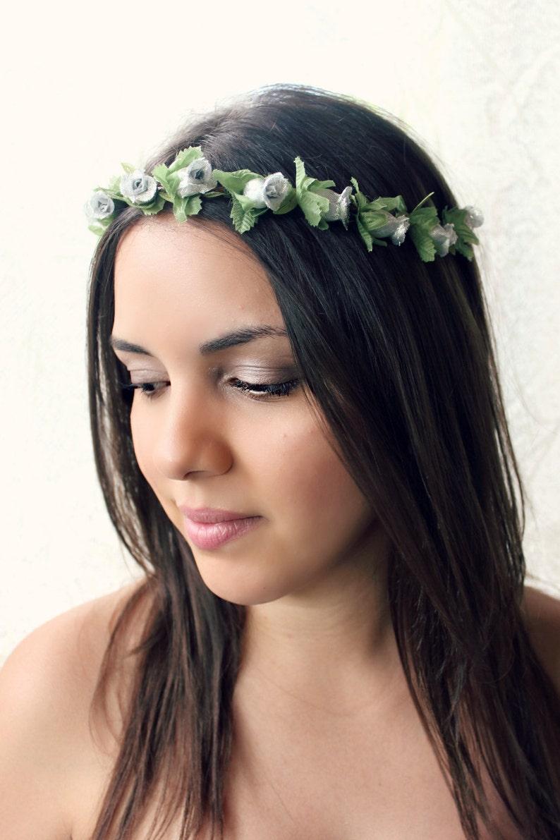 Silver Flower Headpiece Woodland wedding holiday silver image 0