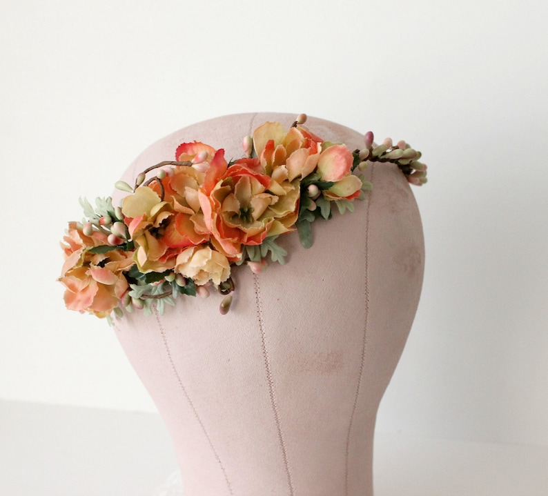 Citrus Roses Floral Crown. bridal flower crown Boho bridal image 0