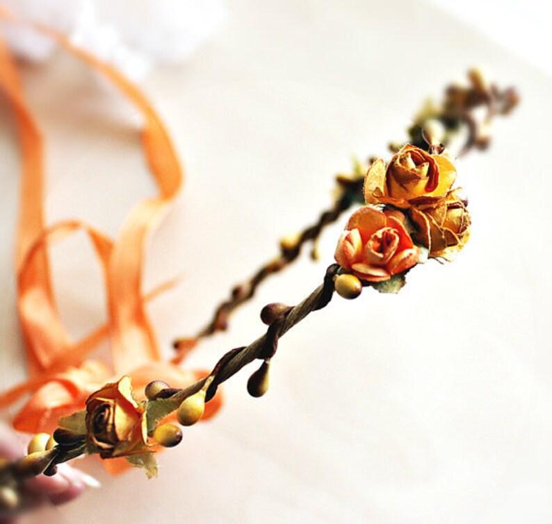 Rustic Roses Flower crown. rustic wedding floral crown image 0