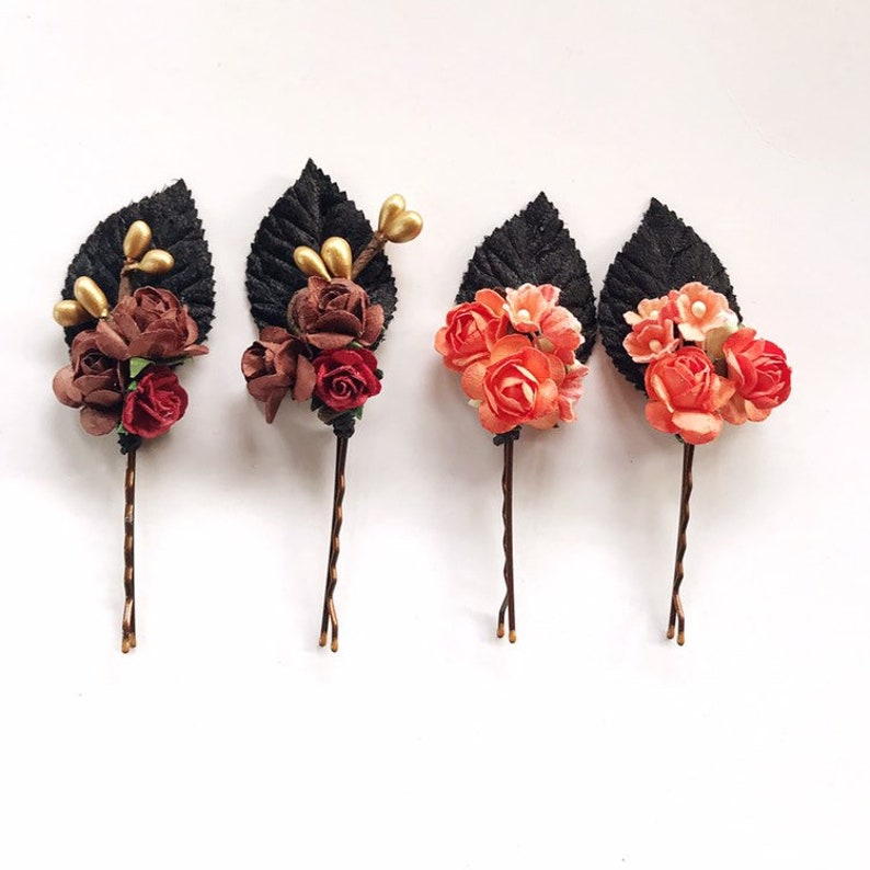 Fall floral Hair Pins Flower Hair Clip Floral Hair Pins image 0