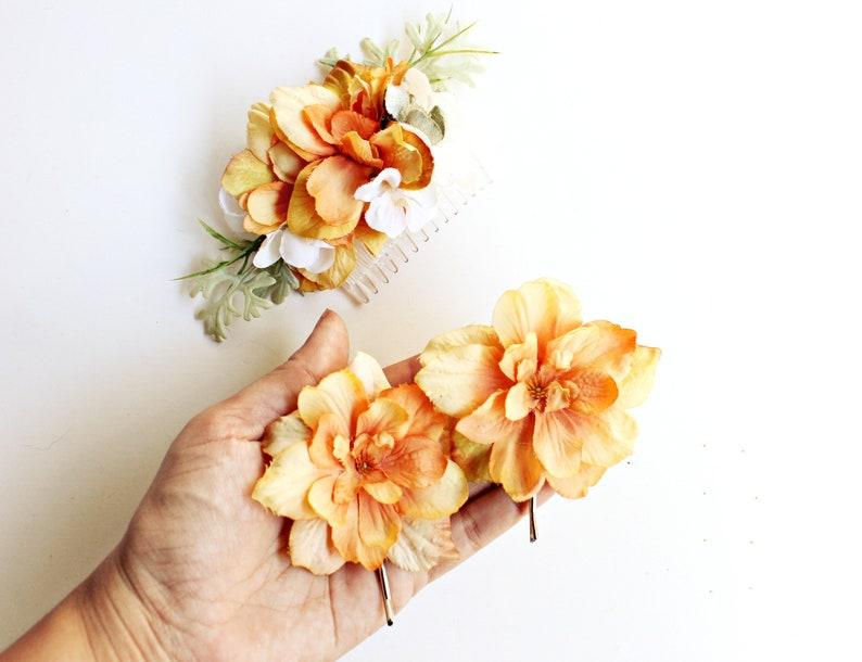 Autumn wedding hair comb set Orange floral hair pins Fall image 0