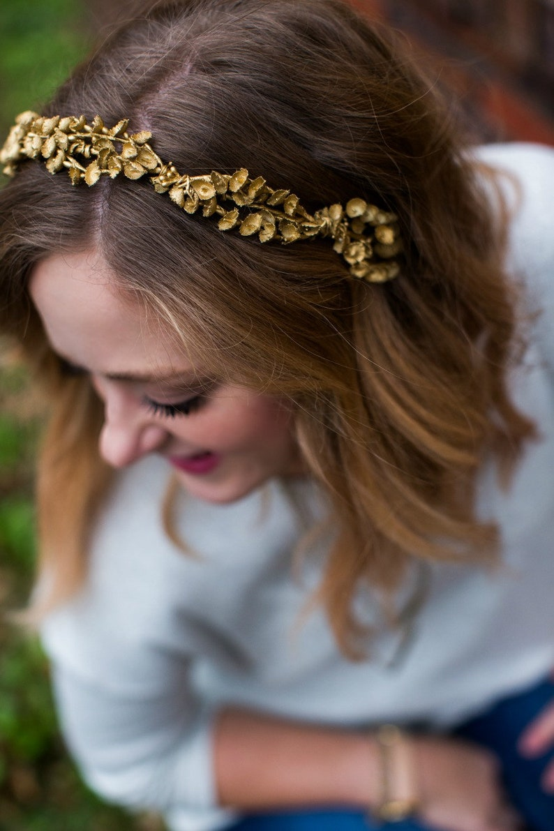 Gold Floral Circlet Gold Wedding Gold Flower Crown Autumn image 0