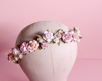 Pink Floral Crown, Wedding, Flower Crown, Wedding, Roses, Bridal, Hair Accessories, Ethereal, Romantic, Boho
