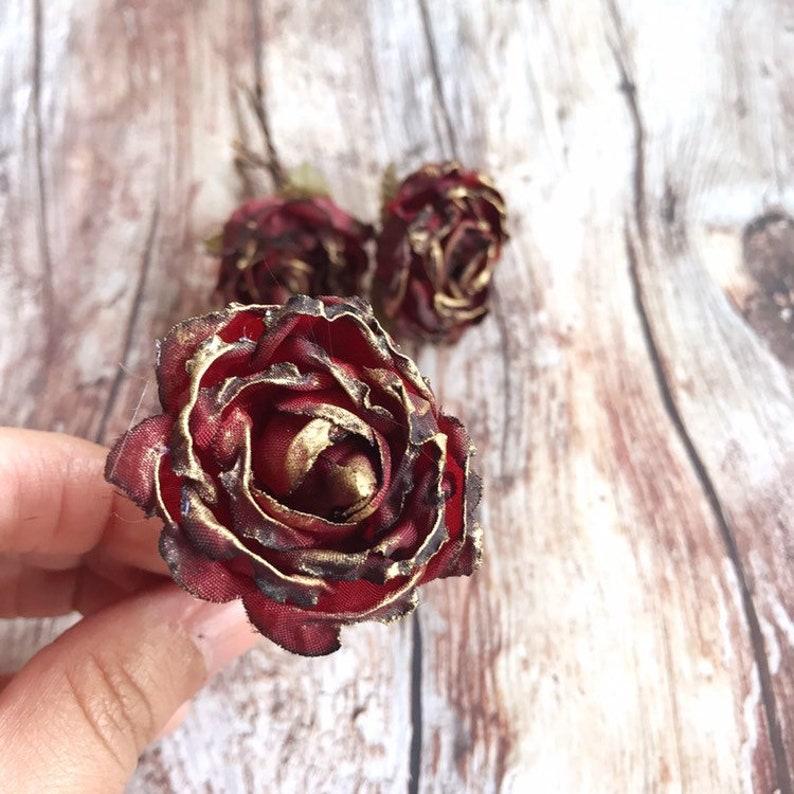 Deep red Rose Flower Hair Pins Fall Wedding headpiece image 0