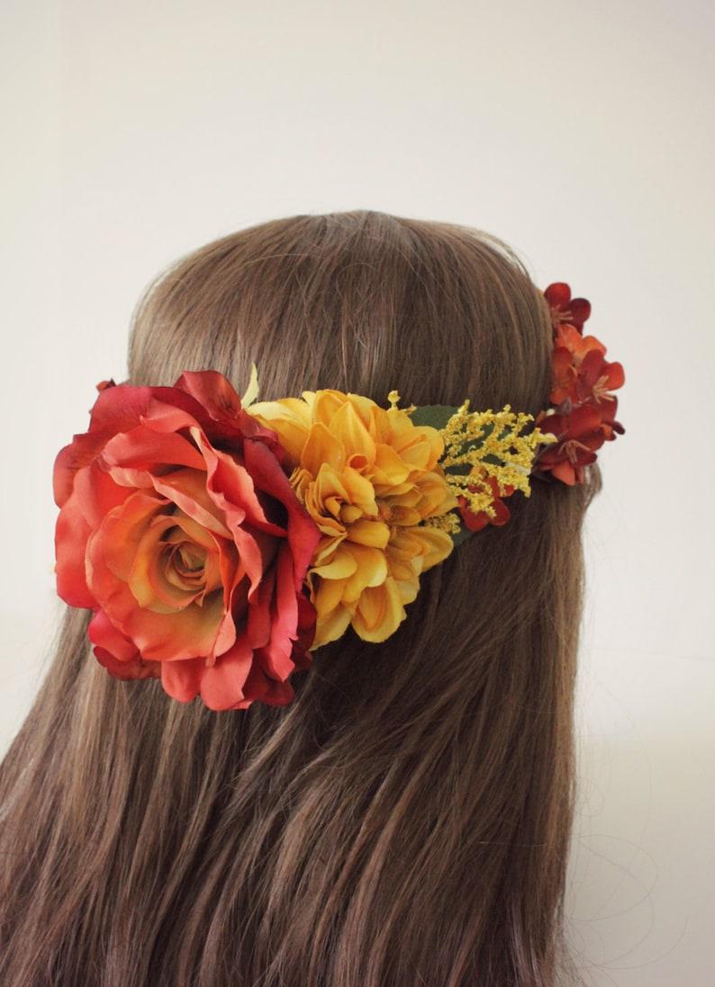 Bridal flower crown bridal headpiece golden yellow wedding image 0