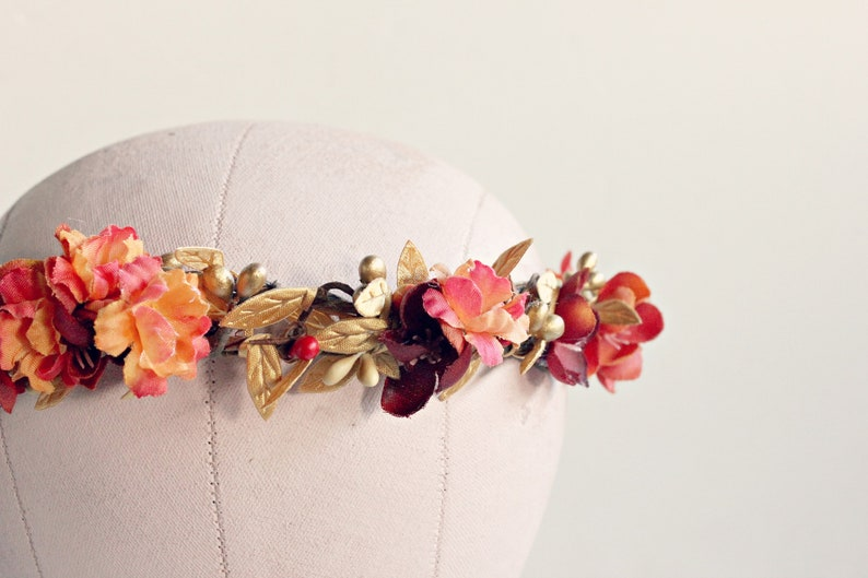 Rustic Autumn Flower crown.Autumn wedding Fall floral crown image 0