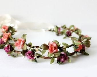 Bridal Floral Crown, Flower Crown, Purple Flower Crown, Peach Flower Crown, Floral wedding headpiece, Bohemian Headpiece, flower girl crown