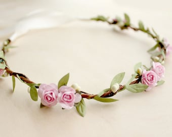 Pink Rose Floral Crown Wedding, Bohemian Flower Crown. Woodland, Fall, pink floral crown, Flower Girl,  Bridal, Hair Accessories,