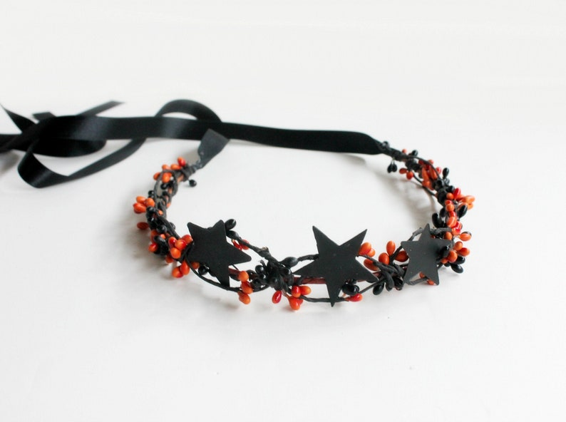 Black Stars Crown Halloween Crown Black Flower Crown fall image 0