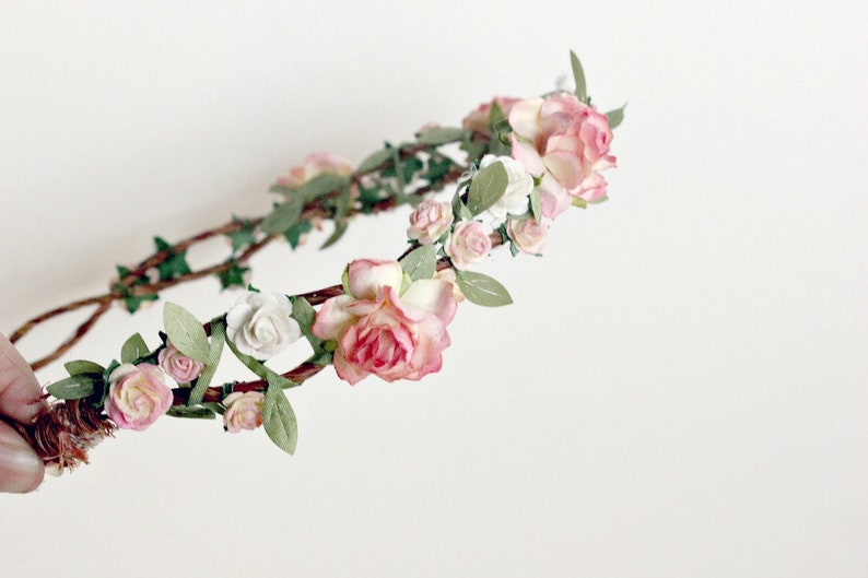Strawberry Champagne Floral Crown Flower Crown Floral image 0