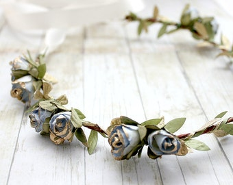 Blue Gold Rosebuds Floral Crown Wedding, Flower Crown, Paper Flowers, Spring, Something Blue, Hair Wreath, Bridal, Hair Accessories,
