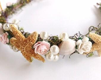 Beach Wedding Crown, Mermaid headpiece, destination Wedding, starfish, bohemian, mermaid crown, seashells floral crown, pink beach crown