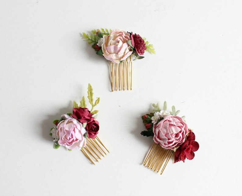 Pink and Burgundy Floral Comb Boho comb Bridesmaid matching image 0