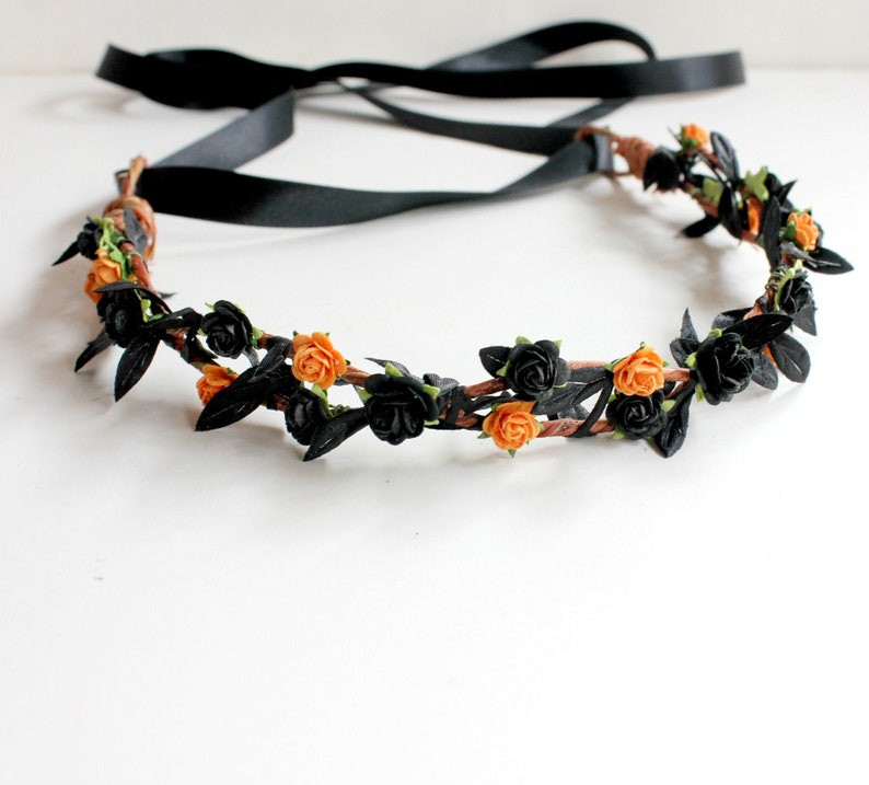 Black Floral Crown Halloween Floral Crown Black Flower image 0