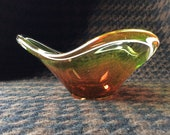 A Vintage genuine Scandinavian Art Glass seldom lively colored freeform Coquille Bowl master Artist Paul Kedelv for Flygsfors Sweden 1955s