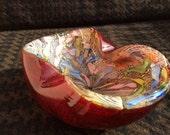 Vintage Italy Murano Art Glass a Fine ruby red AVeM riche pattern Tutti Frutti Bowl by Giulio Radi early 1950s