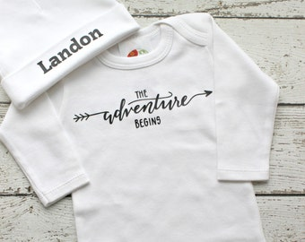 Newborn Boy Adventure Begins Take Home Outfit with Personalized Hospital Beanie Hat, Newborn Coming Home Outfit, Baby Shower Gift for boys