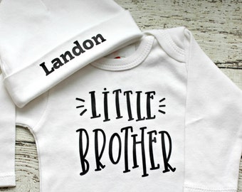 Newborn Boys Take Home Outfit with Personalized Hospital Beanie Hat, Newborn Little Brother Coming Home Outfit, Baby Shower Gift for boys