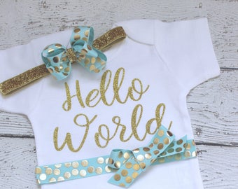 Baby girl Hello World Newborn Outfit, Hello World Take Home Outfit with Headband, Aqua and Gold glitter, shower gift