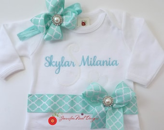 Monogrammed baby name gown for girls, personalized newborn take home outfit, coming home outfit, bring me home outfit, first photo outfit
