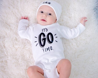 Newborn Boys Take Home Outfit, Personalized Hospital Name Hat, Pregnancy Reveal Gift