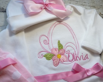 personalized baby girl coming home  Outfit, newborn girl take home outfit, gown and hat with name, personalized layette, newborn gown