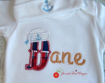 personalized coming home outfit, Personalized hospital Outfit, Nautical Baby Outfit, Sailor Boy Outfit, Summer Baby Take home outfit