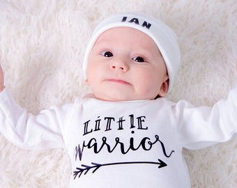 Newborn Boys Take Home Outfit with Personalized Hospital Beanie Hat, Newborn Little Warrior Coming Home Outfit, Baby Shower Gift for boys