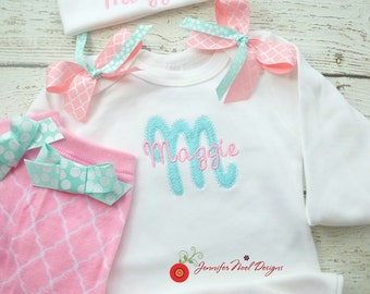 Newborn girl take home outfit, personalized baby girl Pink and Aqua Coming Home Outfit,  newborn name gown,  monogrammed baby gift, name hat