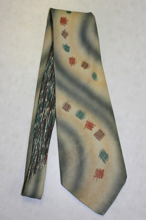 Individually Hand Painted Vintage 1940s Tie