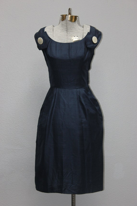 Vintage 1960s Navy Silk Sheath Dress