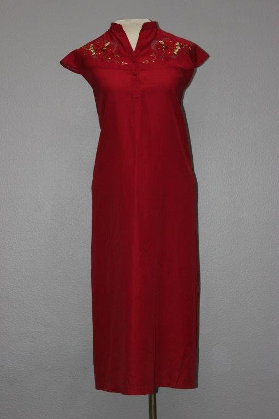 Oriental Inspired Red Embroidered Lounge Dress
