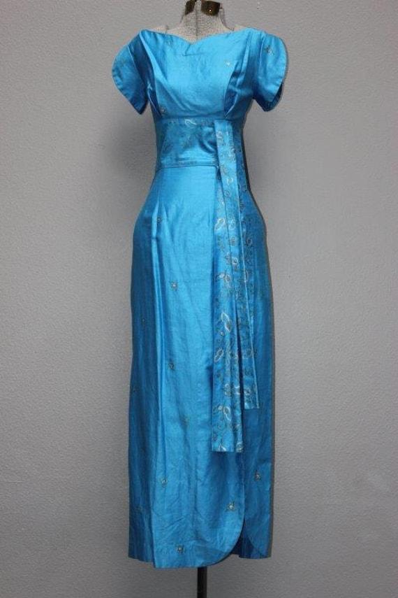 Unique Blue Hand Painted 1950's Hawaiian Dress